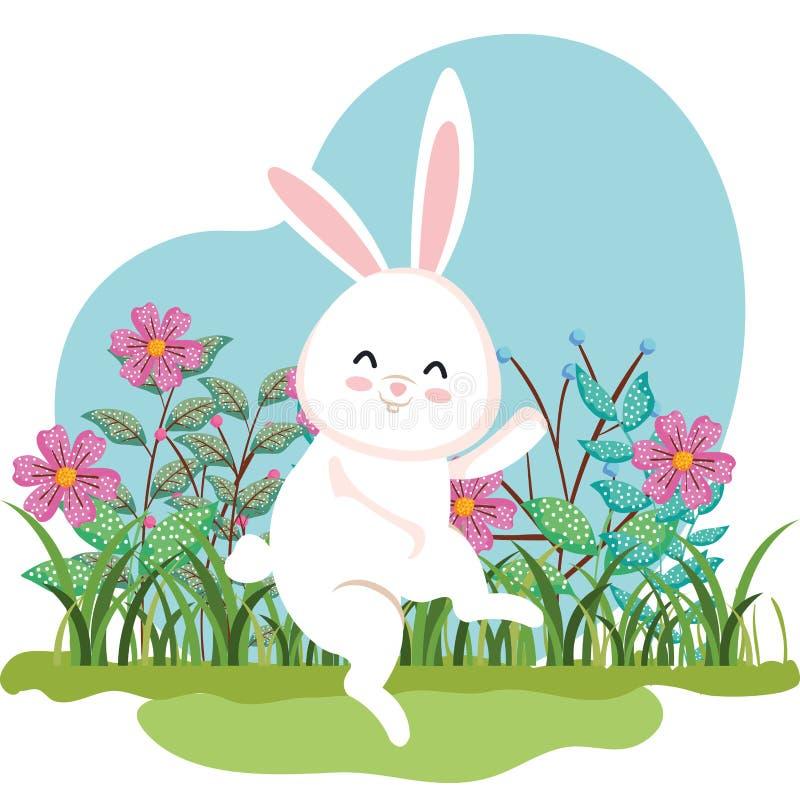 Danse mignonne de lapin et usines de fleurs avec des feuilles illustration stock
