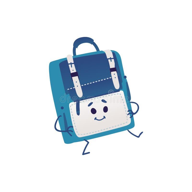 Danse mignonne de personnage de dessin animé de sac à dos d'isolement sur le fond blanc illustration stock