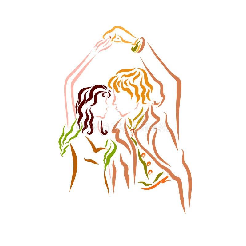Danse romantique d'un couple avec du charme dans l'amour illustration de vecteur