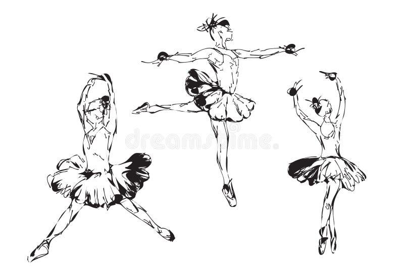 Danse tirée par la main de ballerine dans le tutu illustration de vecteur