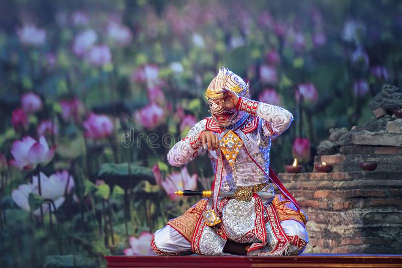 Danse traditionnelle de PantomimeKhonThai de la danse de Ramayana photo stock