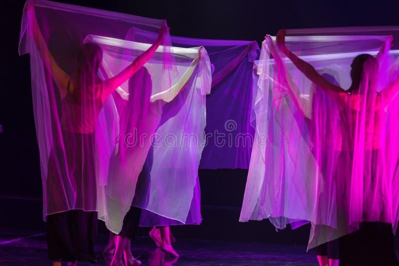 Danse transparente 8 d'écharpe--Âne de drame de danse obtenir l'eau photographie stock libre de droits