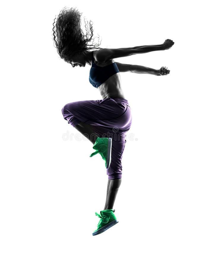 Dansen för kvinnazumbadansare övar konturn fotografering för bildbyråer