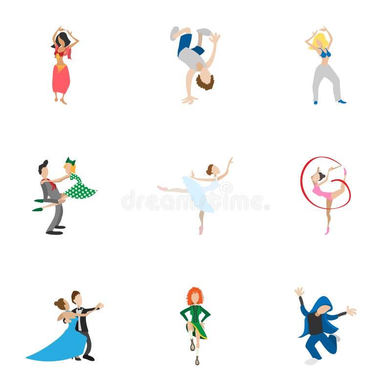 Dansen utformar symboler ställde in, tecknad filmstil vektor illustrationer