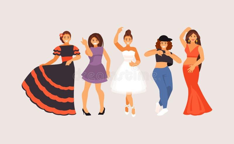 Dansen utformar vektorn stock illustrationer