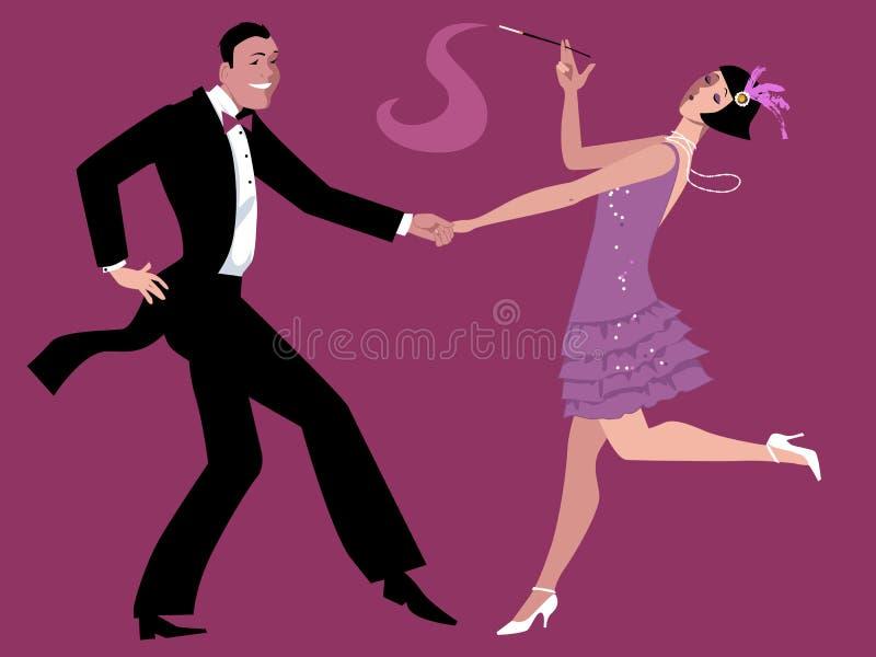 Dansend Charleston royalty-vrije illustratie