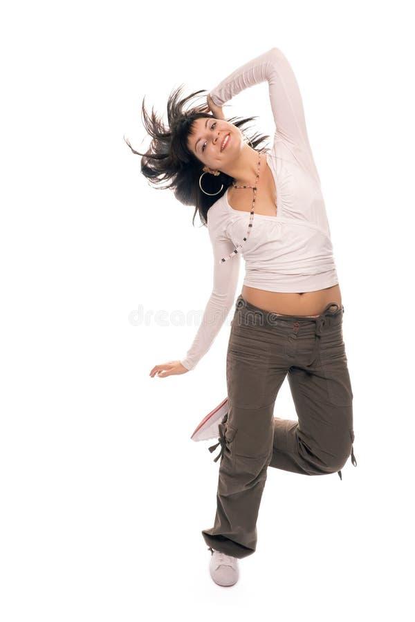 Dansend de tiener donkerbruin meisje van de schoonheid stock afbeelding