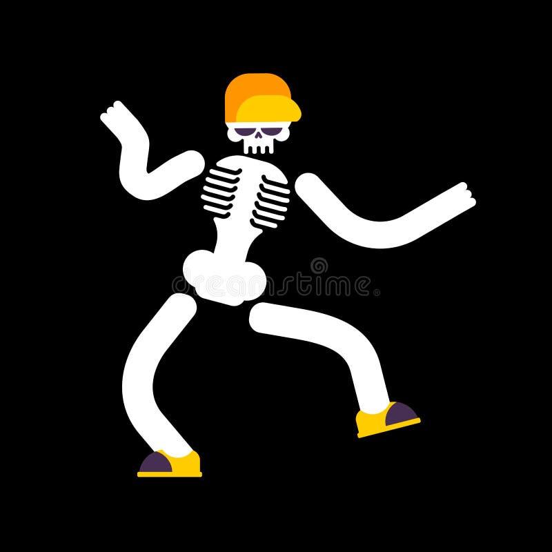 Dansend geïsoleerd skelet De schedel danst straatdansen stock illustratie