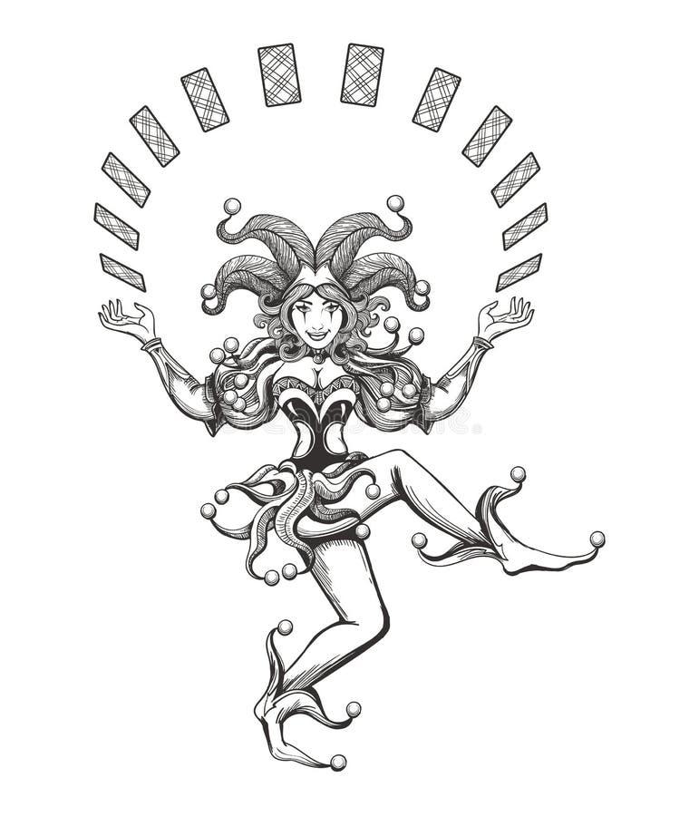 Dansend Jokermeisje stock illustratie