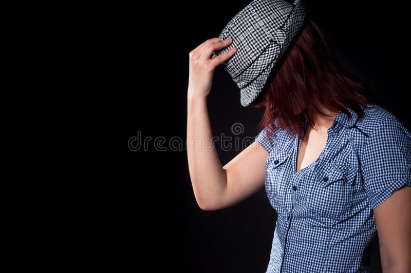Dansend meisje in hoed royalty-vrije stock afbeelding