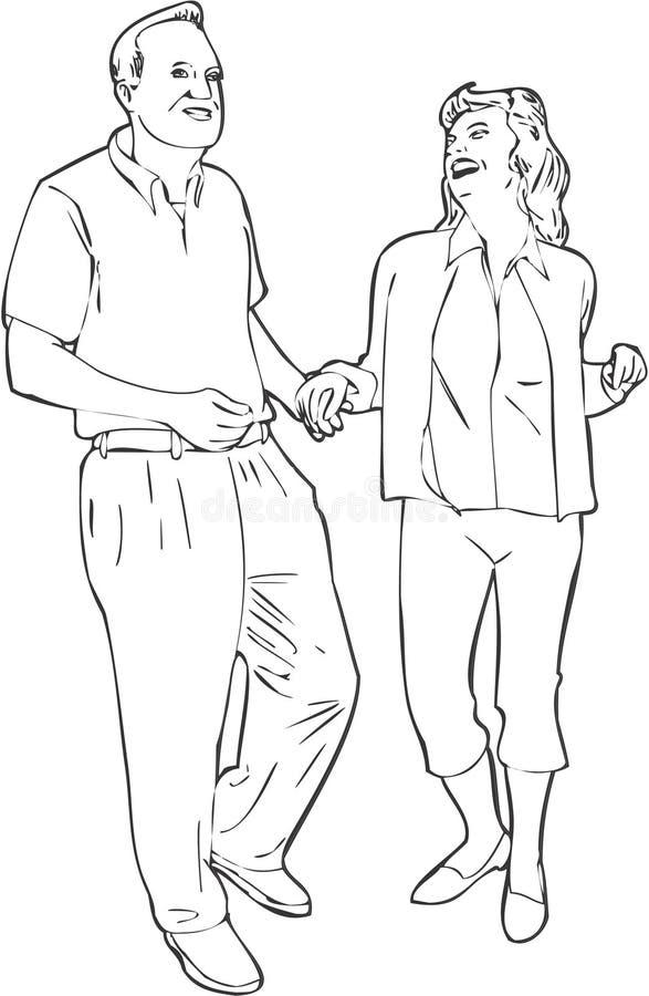 Dansend Paar stock illustratie
