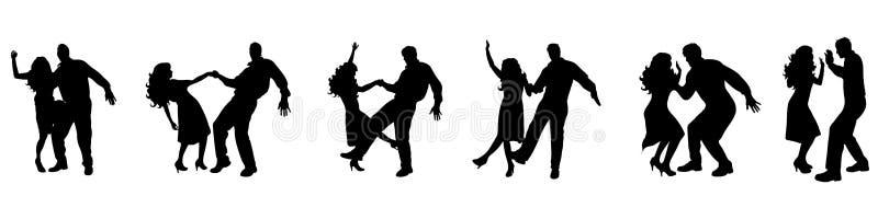 Dansend paar? dat op wit wordt geïsoleerdg royalty-vrije illustratie