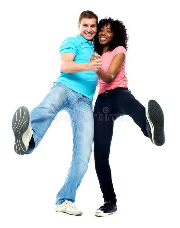 Dansend paar dat pret heeft royalty-vrije stock foto's