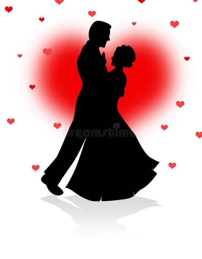 Dansend paar met rode hartenachtergrond royalty-vrije illustratie