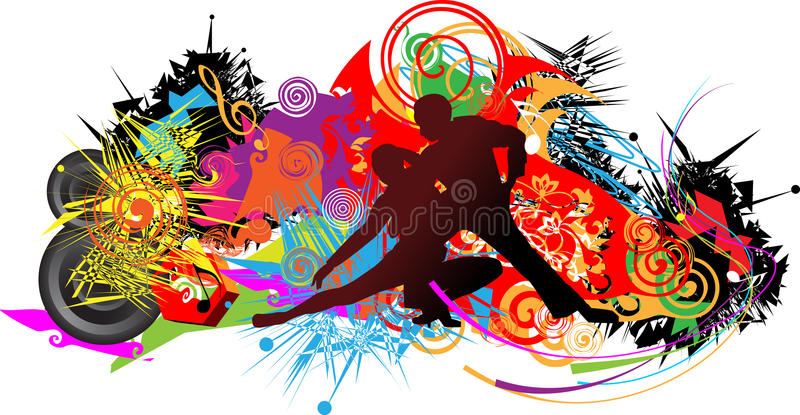 Dansend paar op abstracte achtergrond royalty-vrije illustratie