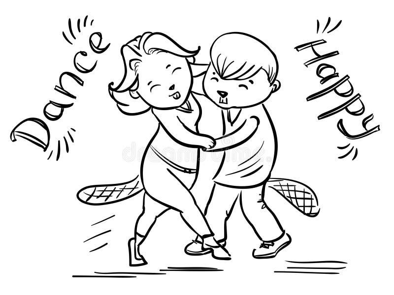 Dansend paar van bevers - gelukkige dans royalty-vrije illustratie