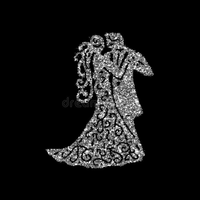 Dansend paar zilveren silhouet Vector illustratie Het kunstzilver schittert pictogram Creatief concept voor Web, dansend schoolem vector illustratie