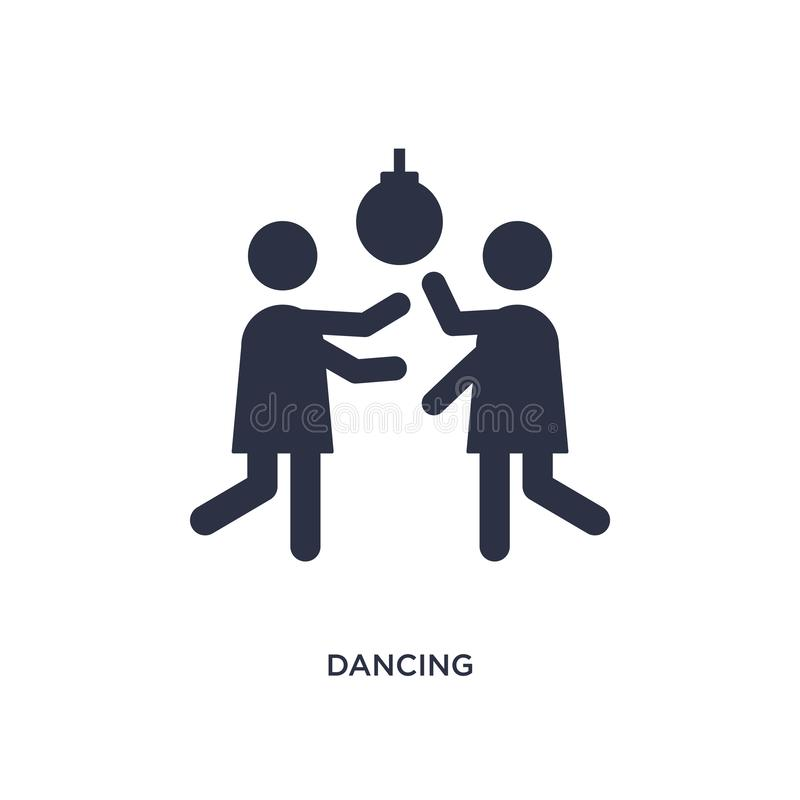 dansend pictogram op witte achtergrond Eenvoudige elementenillustratie van discoconcept vector illustratie
