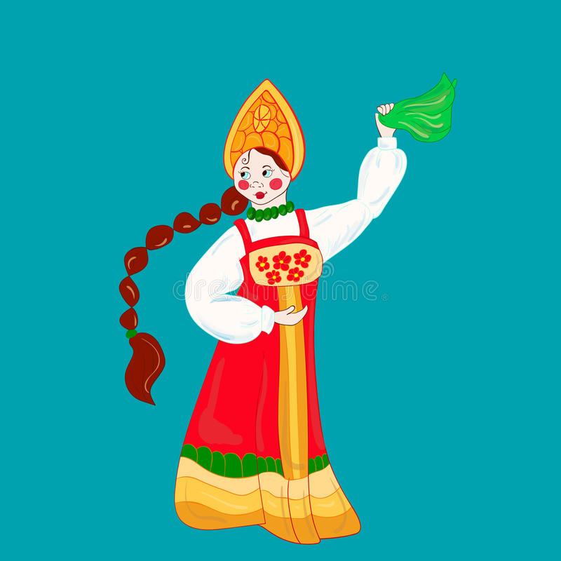 Dansend Russisch meisje vector illustratie