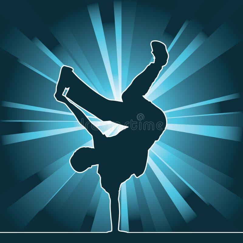 Dansend silhouet, breakdance vector illustratie