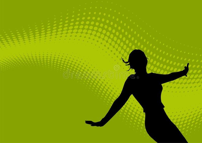 Dansend vrouwelijk en golvend embleem royalty-vrije illustratie