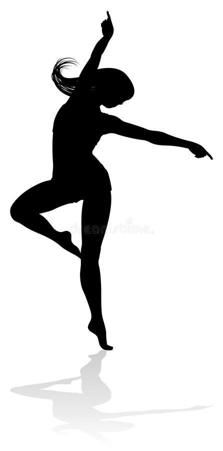 Dansend vrouwensilhouet vector illustratie