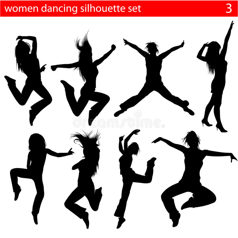 Dansend vrouwensilhouet 2 stock illustratie