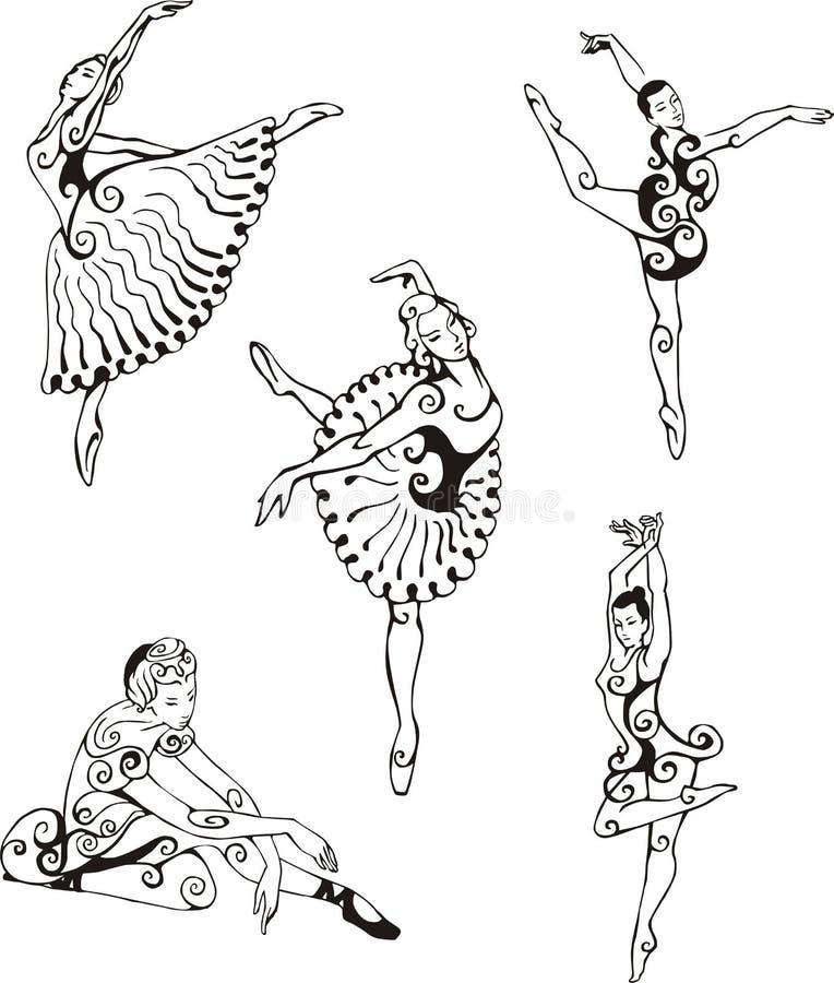 Dansende ballerina's stock illustratie