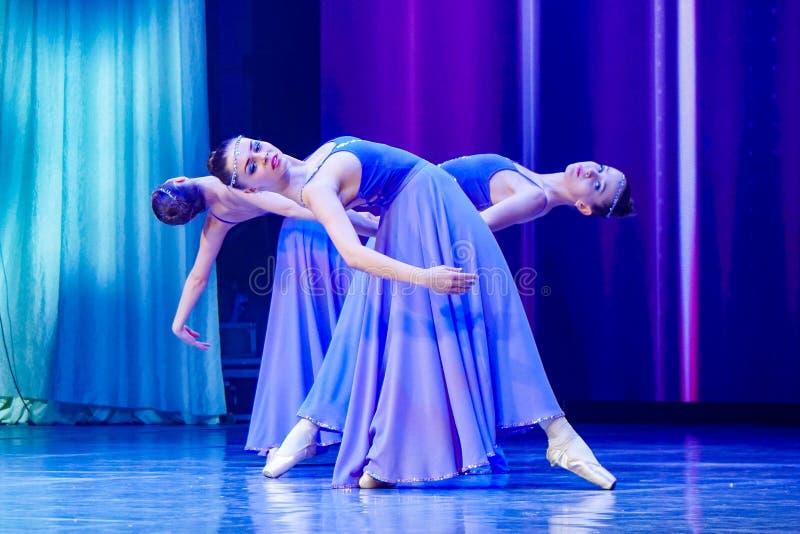 Dansende ballerinameisjes in purpere kleren stock foto