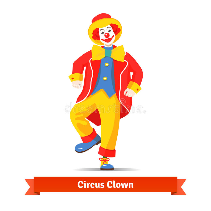 Dansende circusclown stock illustratie