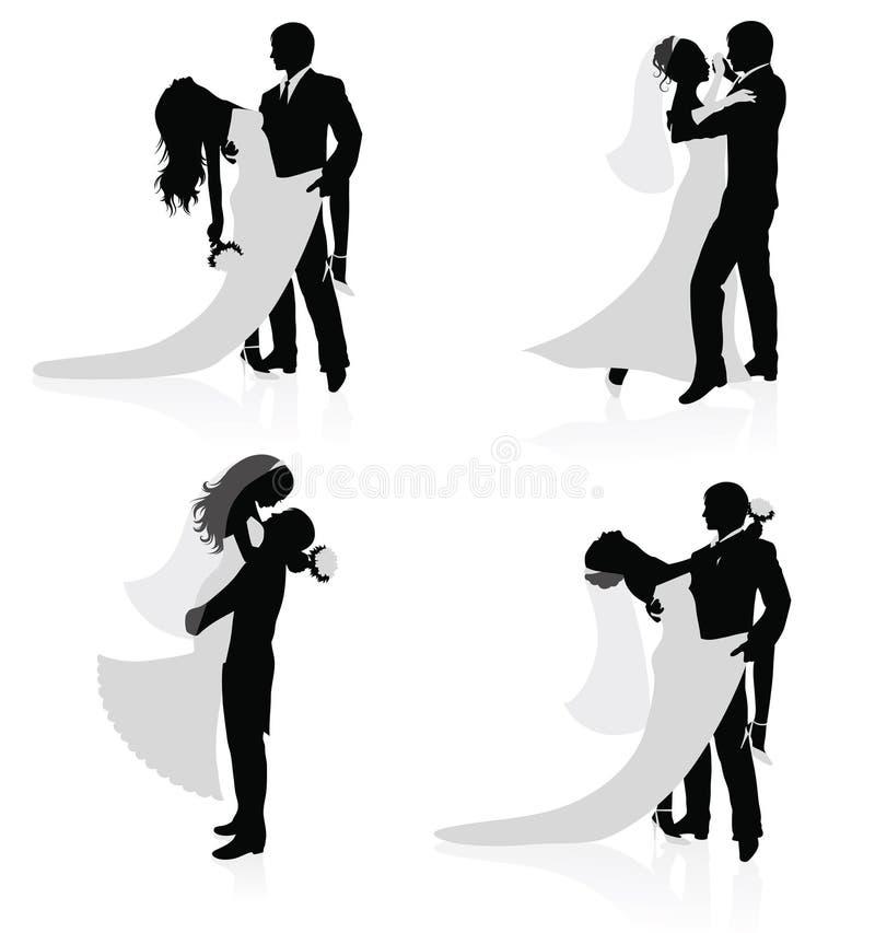 Dansende echtparen. stock illustratie