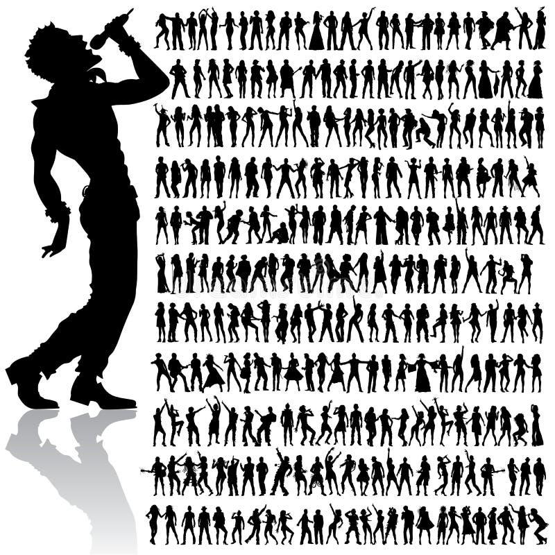 Dansende en zingende mensen grote reeks vector illustratie