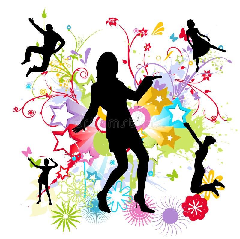 Dansende gelukkige mensen royalty-vrije illustratie