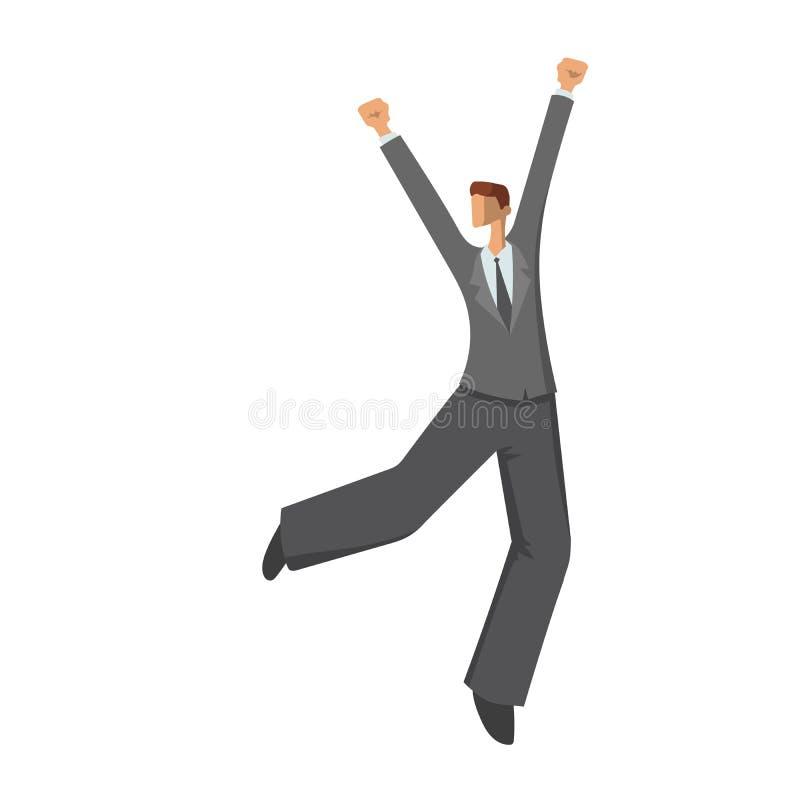 Dansende gelukkige zakenman in abstracte stijl, vectordieillustratie op witte achtergrond wordt geïsoleerd stock illustratie