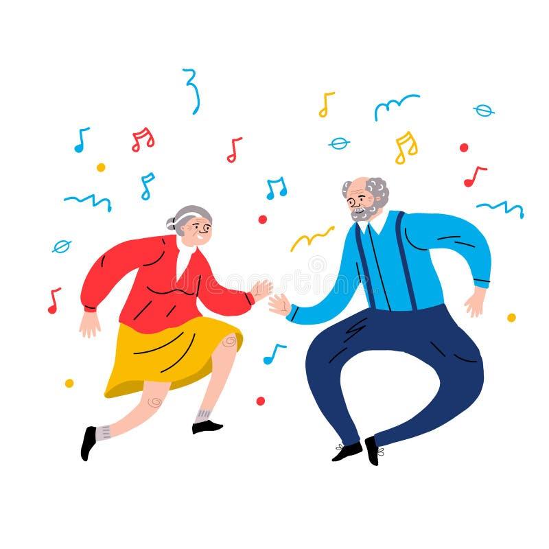 Dansende grootouders Oudere dansers Vector vlak portret van oud leuk houdend van paar De stijl van het beeldverhaal Gezonde Leven stock illustratie