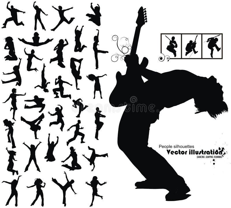 Dansende het springen lopende mensensilhouetten stock illustratie
