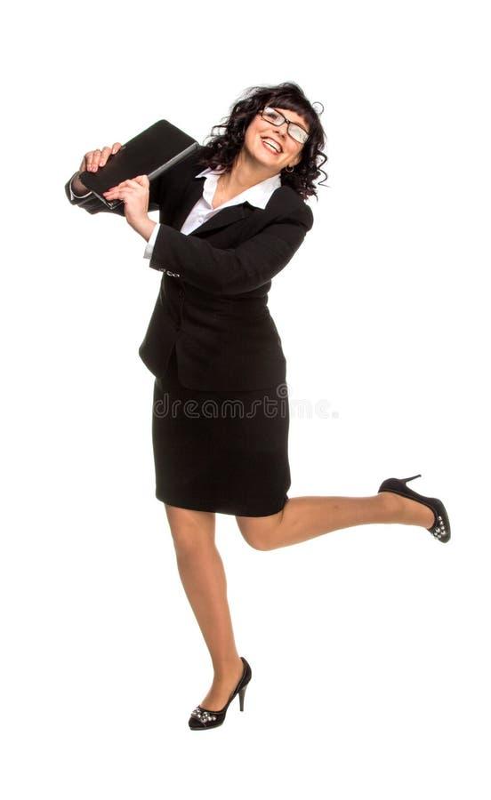 Dansende hogere bedrijfsvrouw met Tabletcomputer stock foto