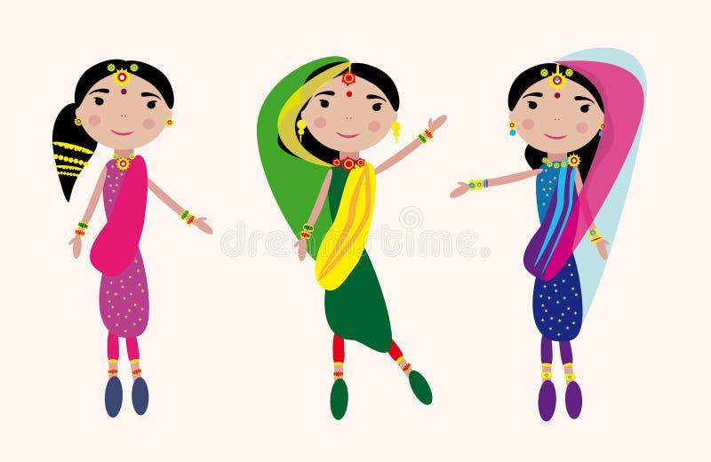 Dansende Indische meisjesuitrusting royalty-vrije illustratie