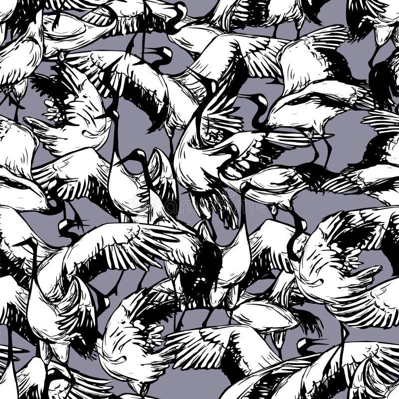 Dansende Japanse kranen in de sneeuw vector illustratie