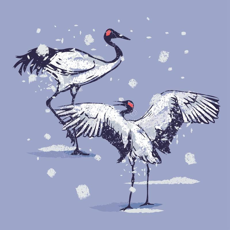 Dansende Japanse kranen in de sneeuw stock illustratie