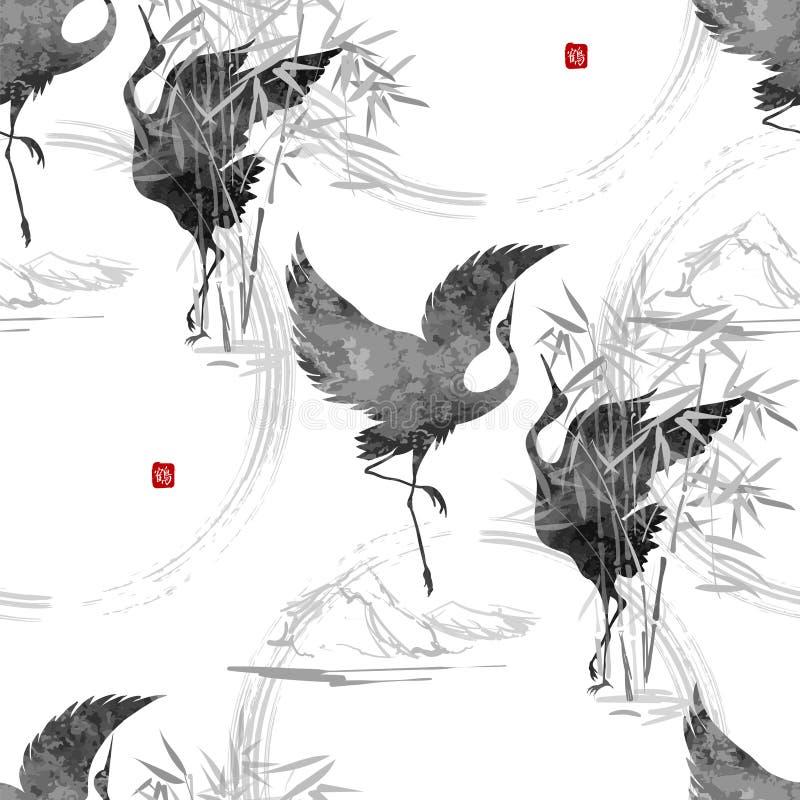 Dansende Japanse kranen stock illustratie