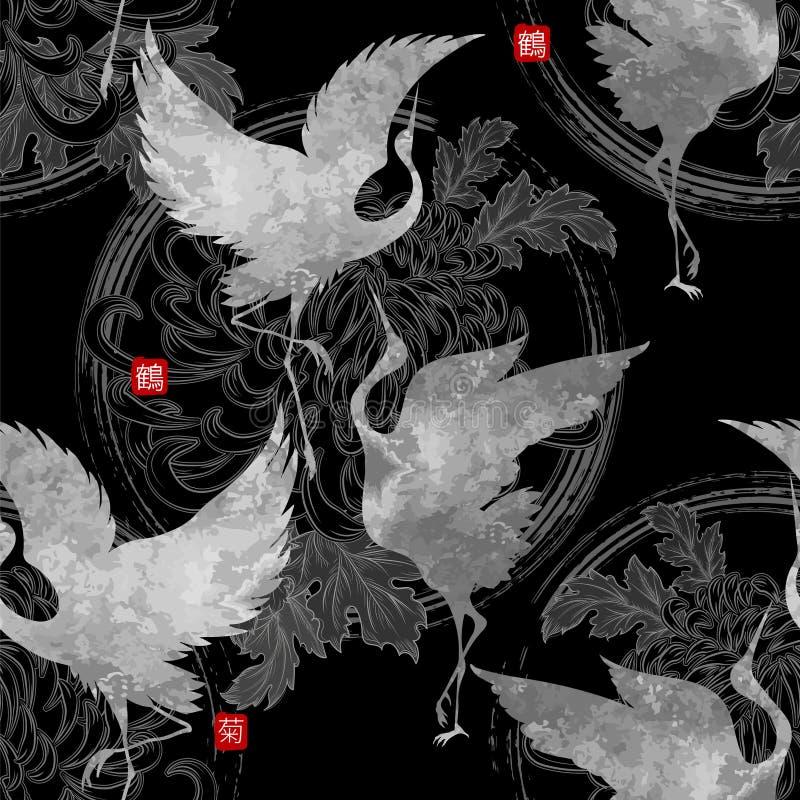 Dansende Japanse kranen vector illustratie