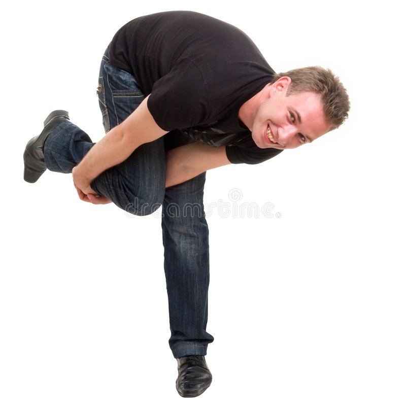 Dansende jonge mens stock foto