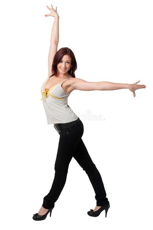Dansende jonge vrouw royalty-vrije stock fotografie