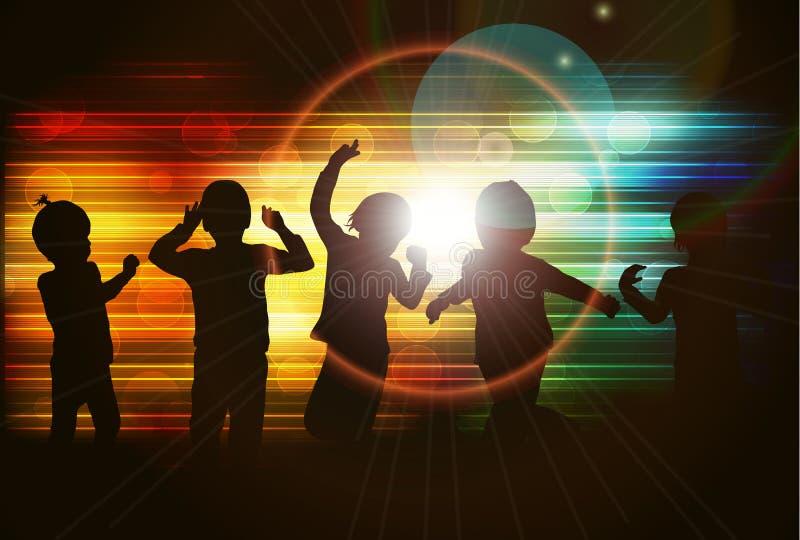 Dansende kinderensilhouetten stock illustratie