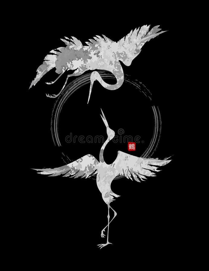Dansende kranen vector illustratie