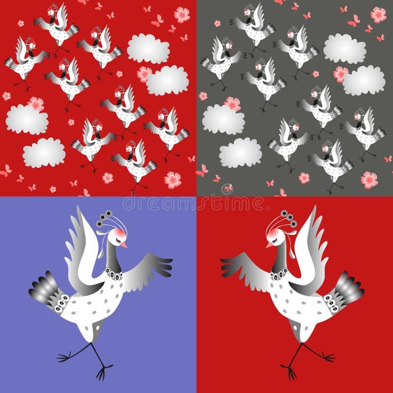 Dansende kranen Reeks van vectorillustratie Aziatische traditionele achtergrond stock illustratie