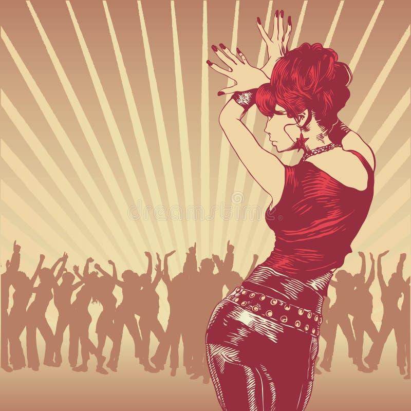 Dansende meisje en partijvolkeren vector illustratie