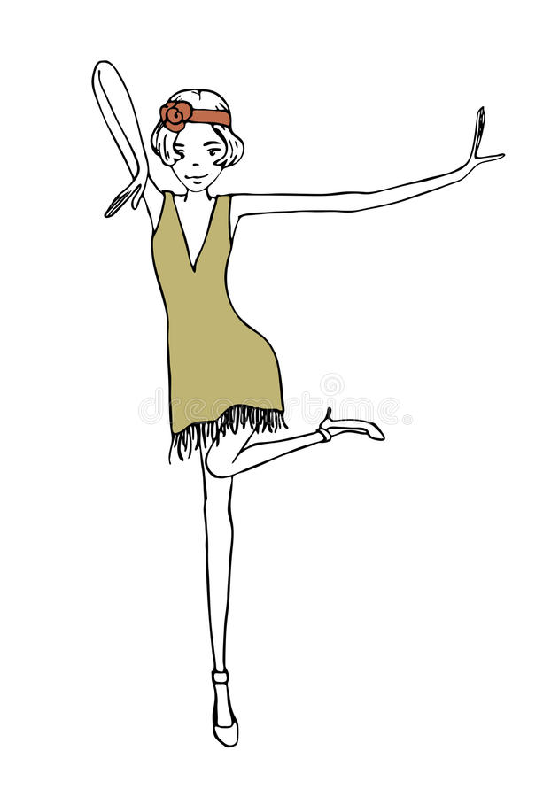 Dansende meisjes uitstekende illustratie stock foto's