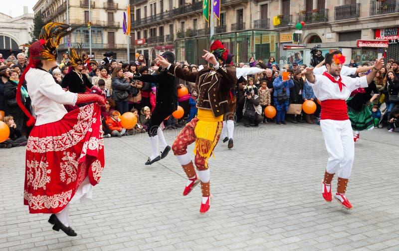 Dansende mensen bij Carnaval-Ballen stock foto's